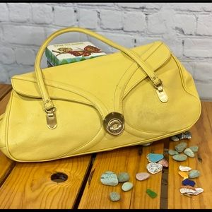 COLE HAAN YELLOW SPRING PURSE WITH BRASS FEATURES